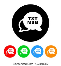 Text Message Icon with Color Variations.  Raster version.