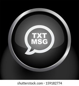 Text Message Icon with Glass Button Background.  Raster version.