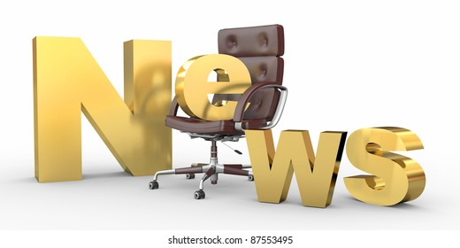 Text news with emty office armchair. 3d