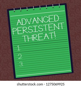 Text sign showing Advanced Persistent Threat. Conceptual photo unauthorized user gains access to a system Lined Spiral Top Color Notepad photo on Watermark Printed Background.