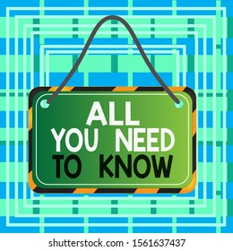Text sign showing All You Need To Know. Conceptual photo Tell only the Facts and Important ones Access to Data Board attached string color black yellow frame empty blank rectangle shape.