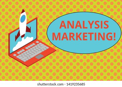 Text sign showing Analysis Marketing. Conceptual photo Quantitative and qualitative assessment of a market Rocket launching clouds laptop background. Startup project growing. SEO.