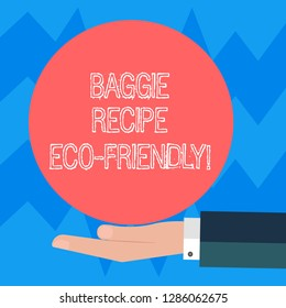 Text sign showing Baggie Recipe Eco Friendly. Conceptual photo shopping bag which can be reused analysisy times Hu analysis Hand in Suit Offering Blank Solid Color Circle for Logo Posters.
