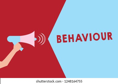 Text sign showing Behaviour. Conceptual photo way in which one acts conducts oneself especially towards others Hu analysis Hand Holding Megaphone with Sound Volume Effect icon Text Space.