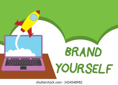 Text sign showing Brand Yourself. Conceptual photo Develop a unique professional identity Personal product Successful rocket launching clouds out laptop background. Startup growing.