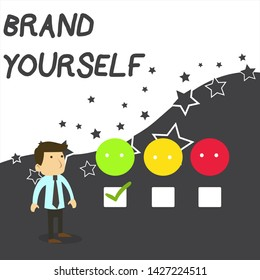 Text sign showing Brand Yourself. Conceptual photo Develop a unique professional identity Personal product White Male Questionnaire Survey Choice Checklist Satisfaction Green Tick.