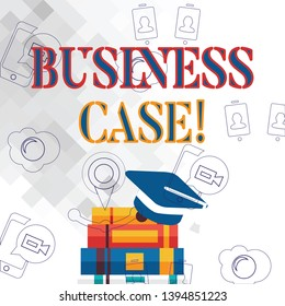 Text sign showing Business Case. Conceptual photo provides justification for undertaking a project or program Graduation Cap with Tassel Resting on Top of Stack of Colorful Thick Books.