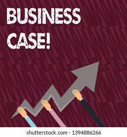 Text sign showing Business Case. Conceptual photo provides justification for undertaking a project or program Three Hands Holding Colorful Zigzag Lightning Arrow Pointing and Going Up.