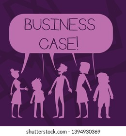 Text sign showing Business Case. Conceptual photo provides justification for undertaking a project or program Silhouette Figure of People Talking and Sharing One Colorful Speech Bubble.