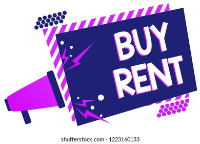 Text sign showing Buy Rent. Conceptual photo choosing between purchasing something or paying for usage Megaphone loudspeaker purple striped frame important message speaking loud.