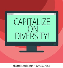 Text sign showing Capitalize On Diversity. Conceptual photo Bringing together workers with different ethnicity Blank Computer Desktop Monitor Color Screen Mounted with Progress Bar.