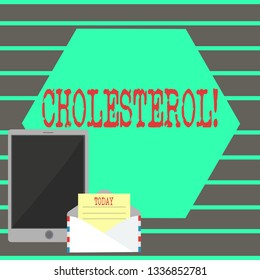 Text sign showing Cholesterol. Conceptual photo Low Density Lipoprotein High Density Lipoprotein Fat Overweight.