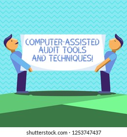 Text sign showing Computer Assisted Audit Tools And Techniques. Conceptual photo Modern auditing applications Two Men Standing Carrying Rectangular Blank Panel Board on Both Sides.