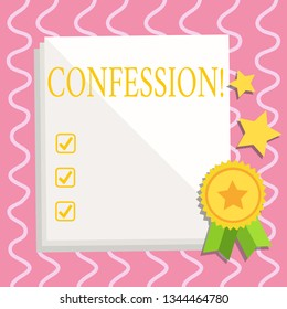 Text sign showing Confession. Conceptual photo Admission Revelation Disclosure Divulgence Utterance Assertion White Blank Sheet of Parchment Paper Stationery with Ribbon Seal Stamp Label.