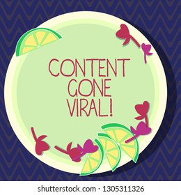 Text sign showing Content Gone Viral. Conceptual photo image video link that spreads rapidly through population Cutouts of Sliced Lime Wedge and Herb Leaves on Blank Round Color Plate.