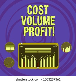 Text sign showing Cost Volume Profit. Conceptual photo form of cost accounting and It is simplified model Digital Combination of Column Line Data Graphic Chart on Tablet Screen.