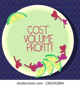 Text sign showing Cost Volume Profit. Conceptual photo form of cost accounting and It is simplified model Cutouts of Sliced Lime Wedge and Herb Leaves on Blank Round Color Plate.