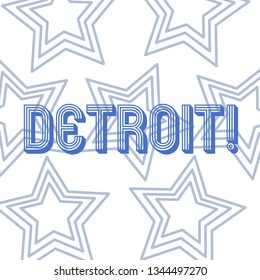 Text sign showing Detroit. Conceptual photo City in the United States of America Capital of Michigan Motown Repetition of Pentagon Star Concentric Pattern in Random on White Isolated.