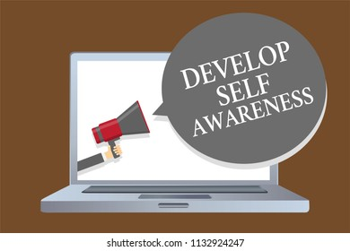 Text sign showing Develop Self Awareness. Conceptual photo increase conscious knowledge of own character Laptop desktop speaker alarming warning sound announcements indication idea.