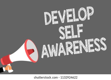 Text sign showing Develop Self Awareness. Conceptual photo increase conscious knowledge of own character Symbols speaker alarming warning sound indications idea announcement.