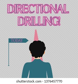 Text sign showing Directional Drilling. Conceptual photo drilling for oil which the well not drilled vertically Man Facing the Distance Ahead and Blocking the View of Straight Narrow Path.