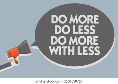 Text sign showing Do More Do Less Do More With Less. Conceptual photo dont work hard work smart be unique Man holding megaphone loudspeaker speech bubble message speaking loud.