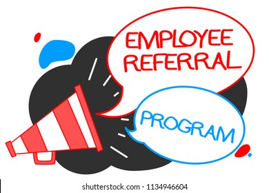Text sign showing Employee Referral Program. Conceptual photo employees recommend qualified friends relatives Megaphone loudspeaker speech bubbles important message speaking out loud.