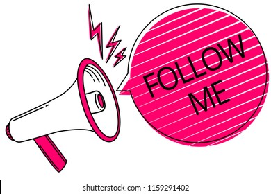 Text sign showing Follow Me. Conceptual photo Inviting a person or group to obey your prefered leadership Megaphone loudspeaker pink speech bubble stripes important loud message.