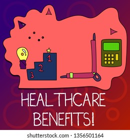 Text sign showing Healthcare Benefits. Conceptual photo monthly fair market valueprovided to Employee dependents Set of Professional Goal Icons for Planning, Advancement and Recognition.