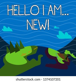 Text sign showing Hello I Am New. Conceptual photo used as greeting or to begin telephone conversation Mountain View with Marked Hiking Trail and Trekking Tracks for Outdoor Ads.