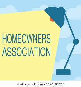 Text sign showing Homeowners Association. Conceptual photo Organization with fee for upkeeps of Gated Community