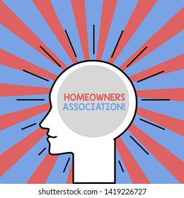 Text sign showing Homeowners Association. Conceptual photo Organization with fee for upkeeps of Gated Community Outline Silhouette Human Head Surrounded by Light Rays Blank Text Space.