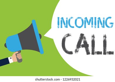 Text sign showing Incoming Call. Conceptual photo Inbound Received Caller ID Telephone Voicemail Vidcall Man holding megaphone loudspeaker speech bubble message speaking loud.