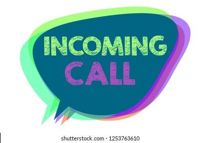 Text sign showing Incoming Call. Conceptual photo Inbound Received Caller ID Telephone Voicemail Vidcall Speech bubble idea message reminder shadows important intention saying.
