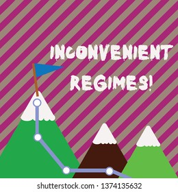 Text sign showing Inconvenient Regimes. Conceptual photo overly strict adherence to a strategic planning regime Three Mountains with Hiking Trail and White Snowy Top with Flag on One Peak.