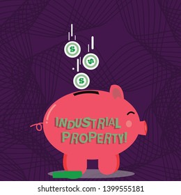 Text sign showing Industrial Property. Conceptual photo the intangible ownership of a trademark or patent Color Piggy Bank Sideview and Dollar Currency Coins Falling Down to the Slit.