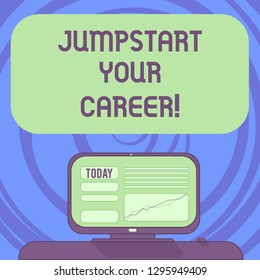 Text sign showing Jumpstart Your Career. Conceptual photo Make it work successfully after a period of failure Mounted Computer Screen with Line Graph on Desk Blank Color Text Box.