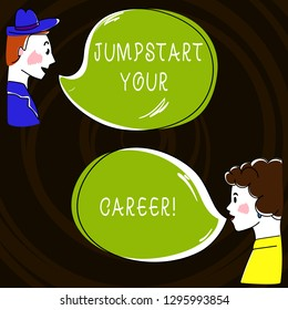 Text sign showing Jumpstart Your Career. Conceptual photo Make it work successfully after a period of failure Hand Drawn Man and Wo analysis Talking photo with Blank Color Speech Bubble.