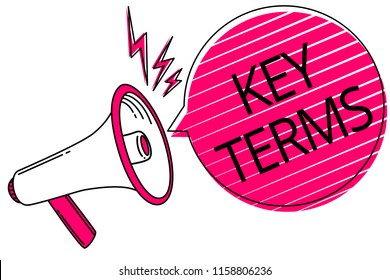 Text sign showing Key Terms. Conceptual photo Words that can help a person in searching information they need Megaphone loudspeaker pink speech bubble stripes important loud message.