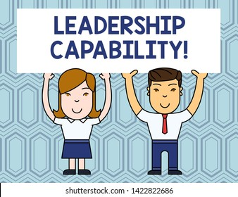 Text sign showing Leadership Capability. Conceptual photo what a Leader can build Capacity to Lead Effectively Two Smiling People Holding Big Blank Poster Board Overhead with Both Hands.
