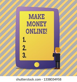 Text sign showing Make Money Online. Conceptual photo Business Ecommerce Ebusiness Innovation Web Technology.