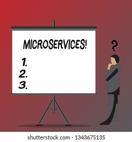 Text sign showing Microservices. Conceptual photo Software development technique Decomposing an application Businessman with Question Mark Above his Head Standing Beside Blank Screen.
