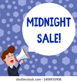 Text sign showing Midnight Sale. Conceptual photo store will be open until midnight with big discount to items Young Man Shouting into Megaphone Floating Round Shape Empty Speech Bubble.