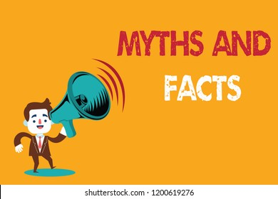 Text sign showing Myths And Facts. Conceptual photo Oppositive concept about modern and ancient period