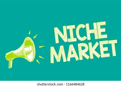 Text sign showing Niche Market. Conceptual photo Subset of the market on which specific product is focused Megaphone loudspeaker green background important message speaking loud.