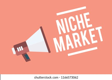 Text sign showing Niche Market. Conceptual photo Subset of the market on which specific product is focused Megaphone loudspeaker pink background important message speaking loud.