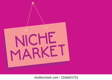 Text sign showing Niche Market. Conceptual photo Subset of the market on which specific product is focused Pink board wall message communication open close sign purple background.