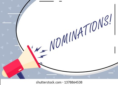 Text sign showing Nominations. Conceptual photo action of nominating or state being nominated for prize Blank White Huge Oval Shape Sticker and Megaphone Shouting with Volume Icon.
