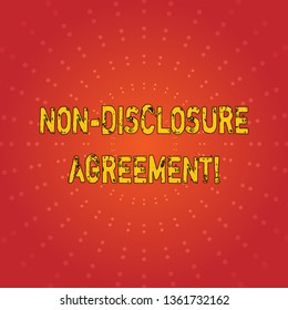 Text sign showing Non Disclosure Agreement. Conceptual photo parties agree not disclose confidential information Sunburst with Blank Center Space and Halftone Dotted Extended Beam Lines.