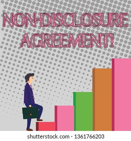 Text sign showing Non Disclosure Agreement. Conceptual photo parties agree not disclose confidential information Businessman Carrying a Briefcase is in Pensive Expression while Climbing Up.
